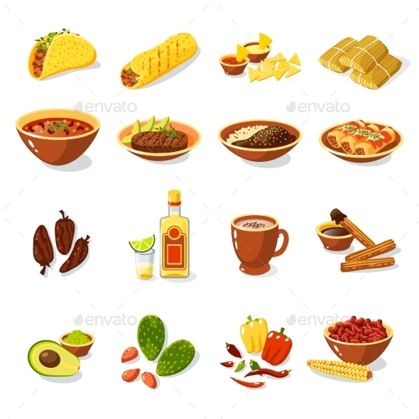GraphicRiver Mexican Food Set 10427277