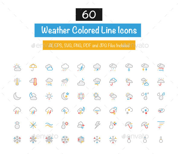 GraphicRiver 60 Weather Colored Line Icons 10427327