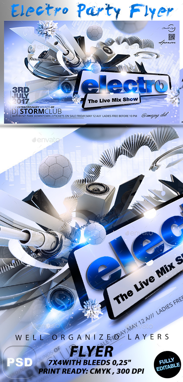 GraphicRiver Electro Party Flyer 10427376