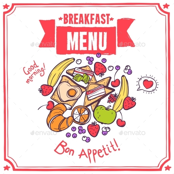 GraphicRiver Breakfast Sketch Menu 10427437