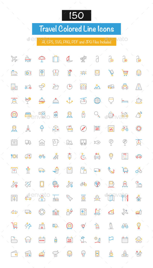 GraphicRiver 150 Travel Colored Line Icons 10427451
