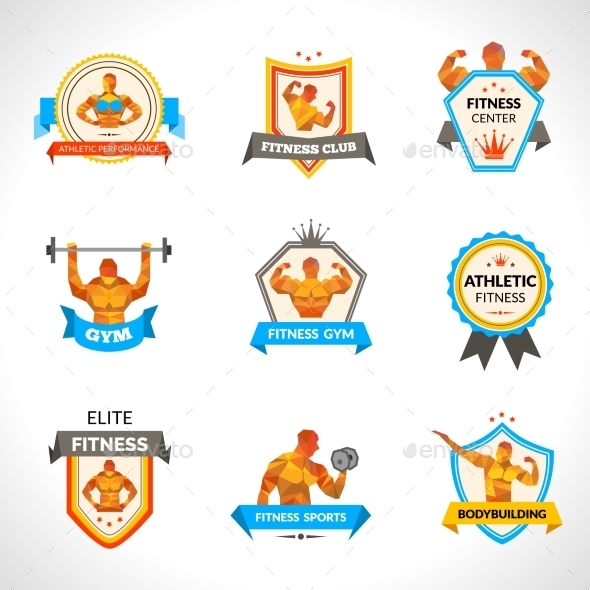 GraphicRiver Bodybuilding Emblems Set 10427480