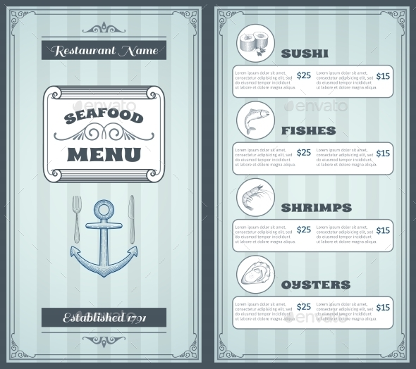 GraphicRiver Seafood Menu Design 10427488