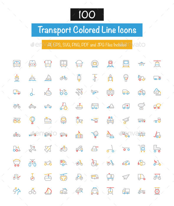 GraphicRiver 100 Transport Colored Line Icons 10427491