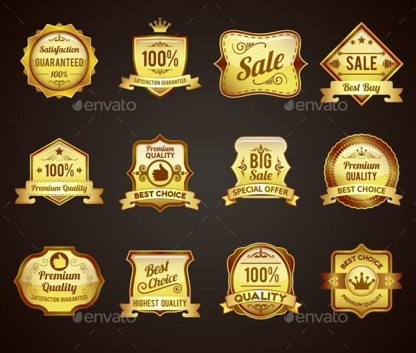GraphicRiver Golden Sales Labels Icons Collection 10427493