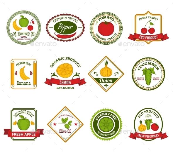 GraphicRiver Fruit Vegetables Labels Set Color 10427496