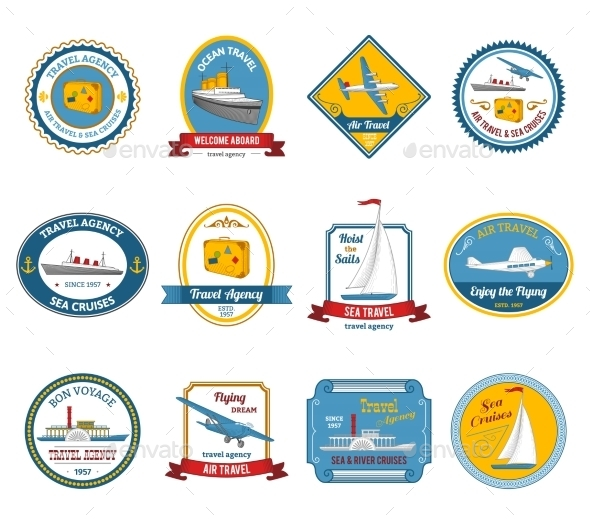 GraphicRiver Cruise Travel Agency Tours Labels Colored 10427499