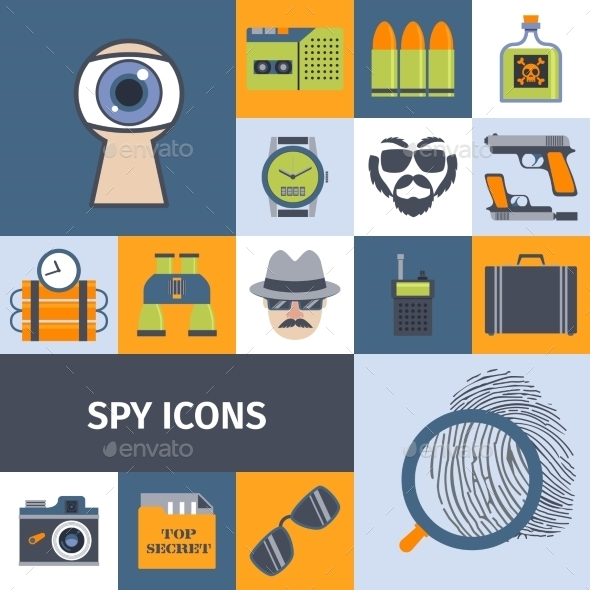 GraphicRiver Spy Gadgets Flat Icons Composition Poster 10427501