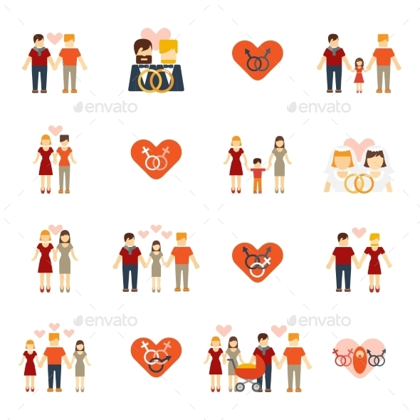 GraphicRiver Non-Traditional Family Icons Set Flat 10427514