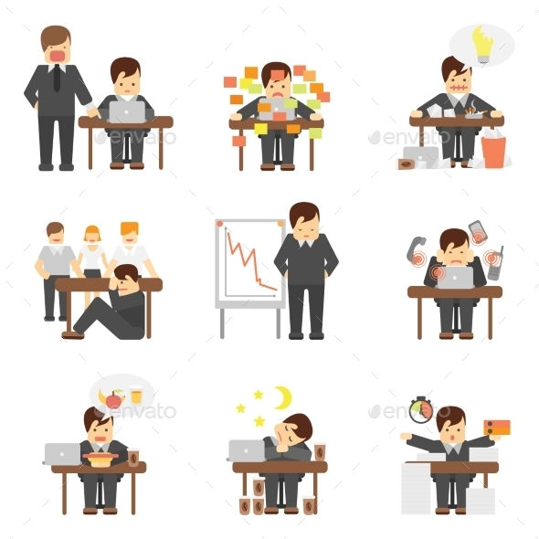 GraphicRiver Stress at Work Icons Set 10427516