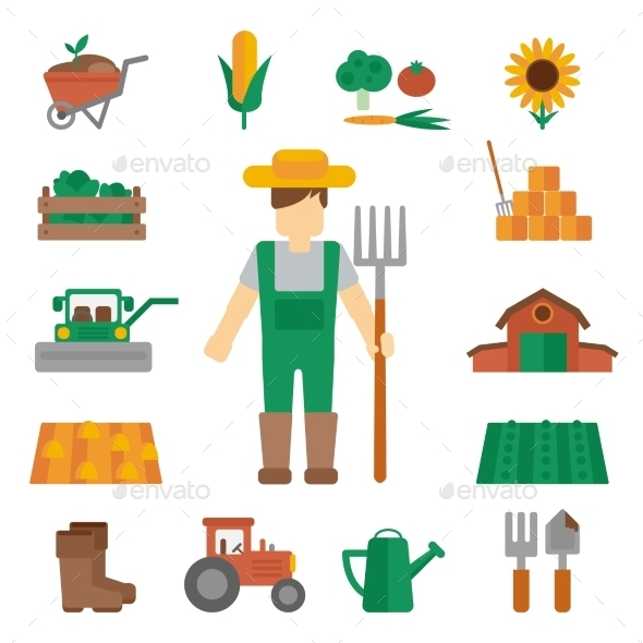 Farmer Land Icons Flat