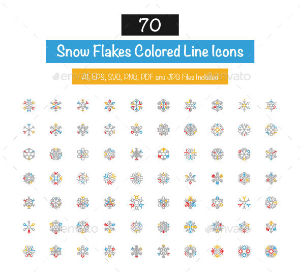 GraphicRiver 70 Snow Flakes Colored Line Icons 10427521