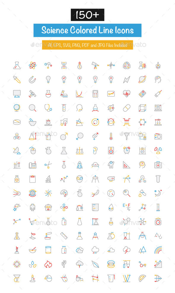 150& Science Colored Line Icons
