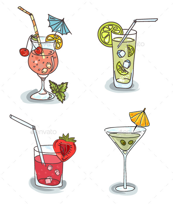 GraphicRiver Different Cocktails with Fruit 10427562
