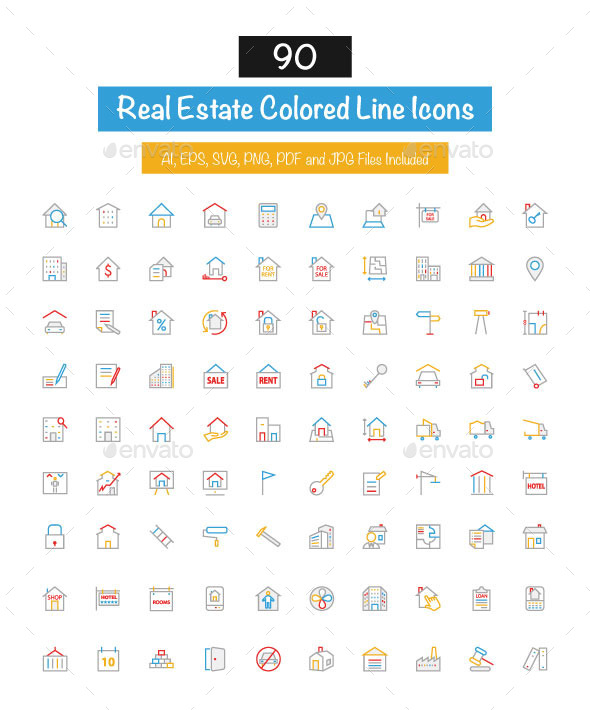 GraphicRiver 90 Real Estate Colored Line Icons 10427566