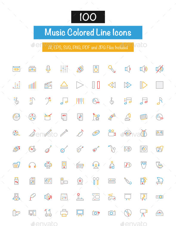 GraphicRiver 100 Music Colored Line Icons 10427575