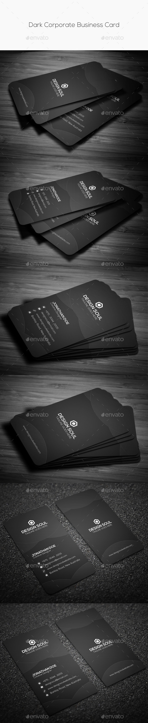 GraphicRiver Dark Corporate Business Card 10427657