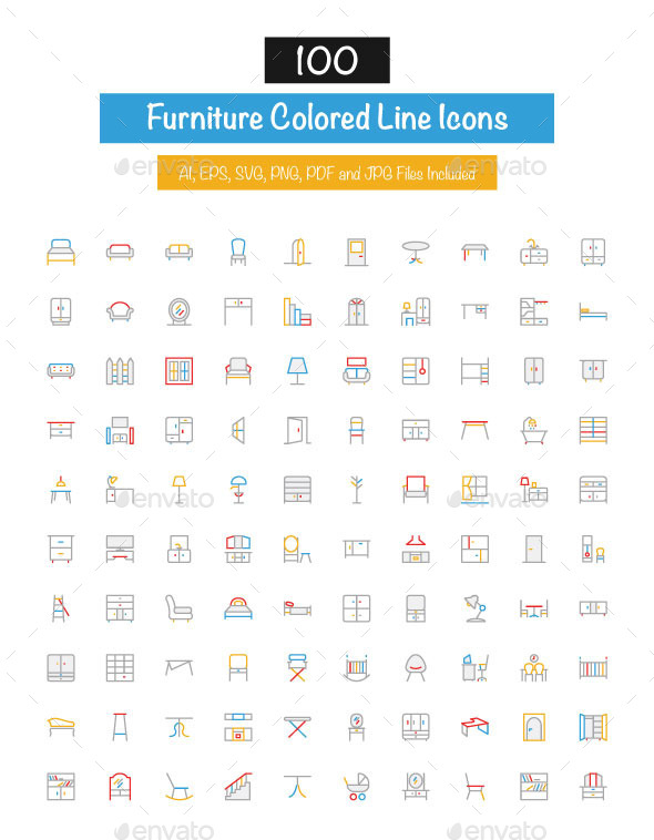 GraphicRiver 100 Furniture Colored Line Icons 10427727
