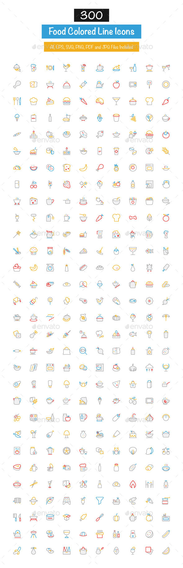 GraphicRiver 300 Food Colored Line Icons 10427733