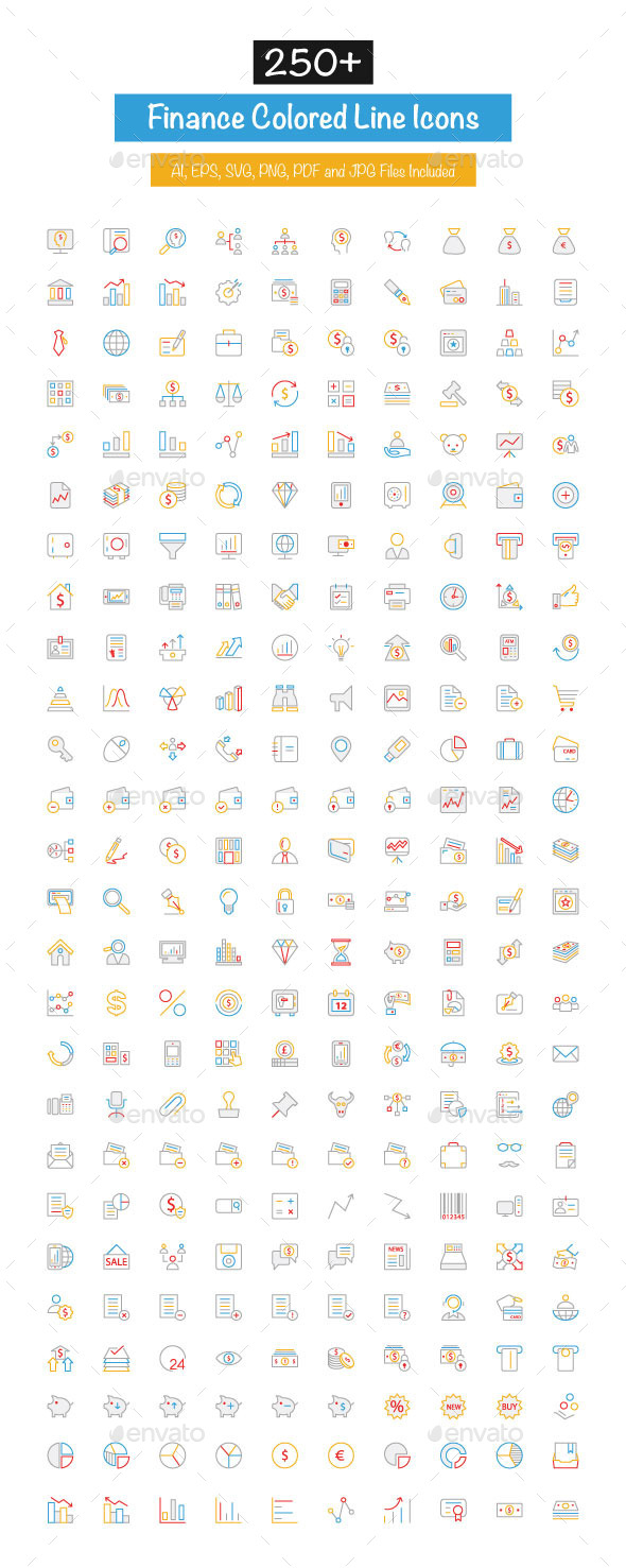 GraphicRiver 250& Finance Colored Line Icons 10427743