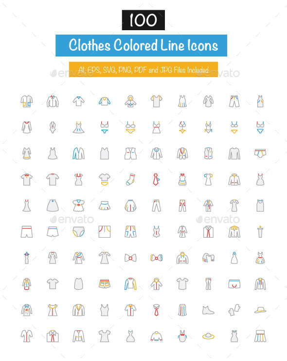 GraphicRiver 100 Clothes Colored Line Icons 10427863