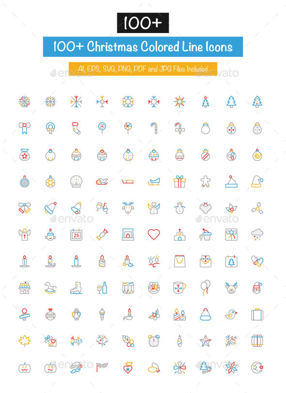 GraphicRiver 100& Christmas Colored Line Icons 10427872