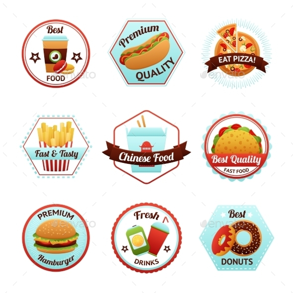 GraphicRiver Fast Food Emblems 10428215