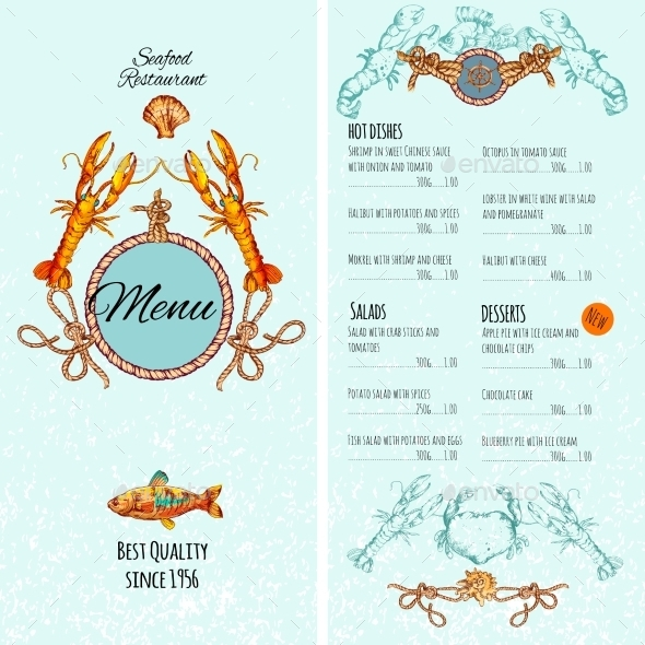 GraphicRiver Seafood Menu Template 10428309