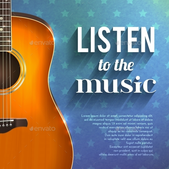 GraphicRiver Music Background With Guitar 10428315