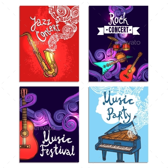 GraphicRiver Music Mini Poster Set 10428328