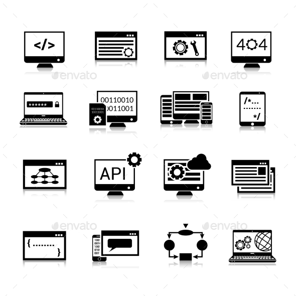 GraphicRiver Programming Icons Black 10428336