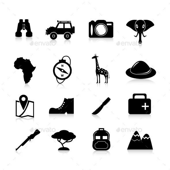 GraphicRiver Safari Icons Black 10428338