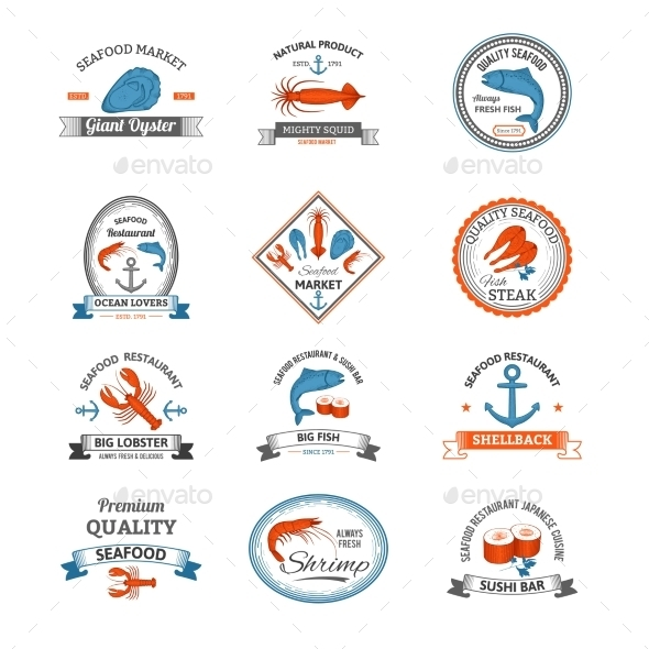 GraphicRiver Seafood Emblems Colored 10428349