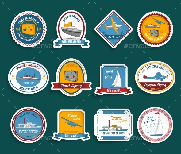 GraphicRiver Cruise Travel Agency Stickers Set 10428430