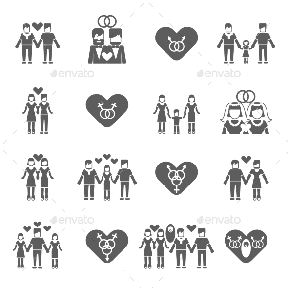 GraphicRiver Non-Traditional Family Icons Set 10428453