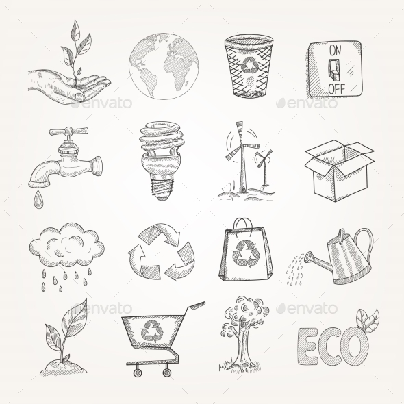 GraphicRiver Doodles Ecology Set 10428470