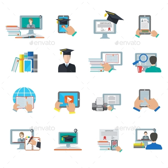 GraphicRiver Online Education Flat Icon 10428472