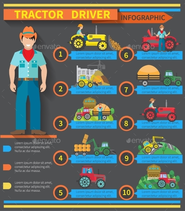 GraphicRiver Tractor Driver Infographics 10428476