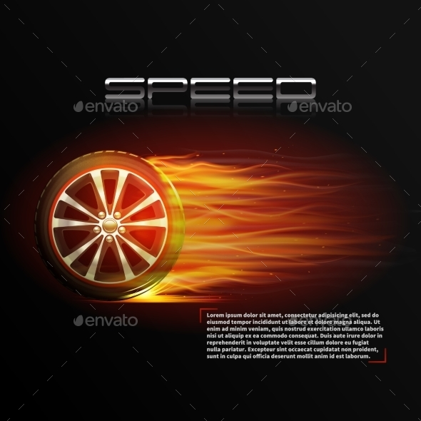 GraphicRiver Burning Wheel Illustration 10428511