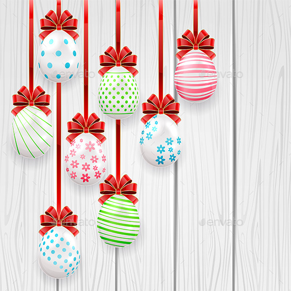GraphicRiver Easter Eggs on Wooden Background 10428535