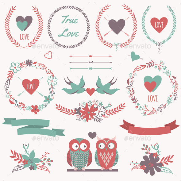 GraphicRiver Romantic Set with Decorative Elements 10428571