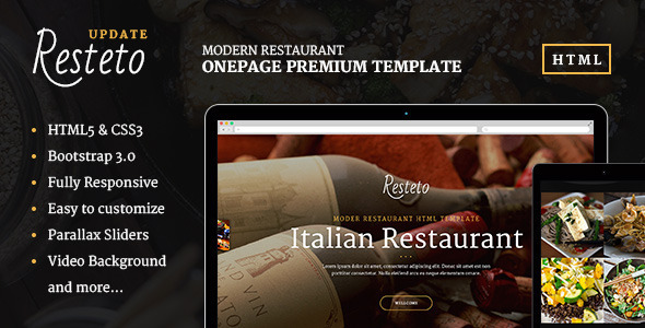 Resteto - One-page Restaurant Premium Template - Restaurants & Cafes Entertainment