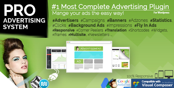 PRO ADVERTISING SYSTEM Most Complete Advertising Plugin Mangeyouradstheeasywayl Ads sFLy Ads.Responsiv. Peelers News.etters., Respors dScns VisuaL Composer ADLERTISEMENT