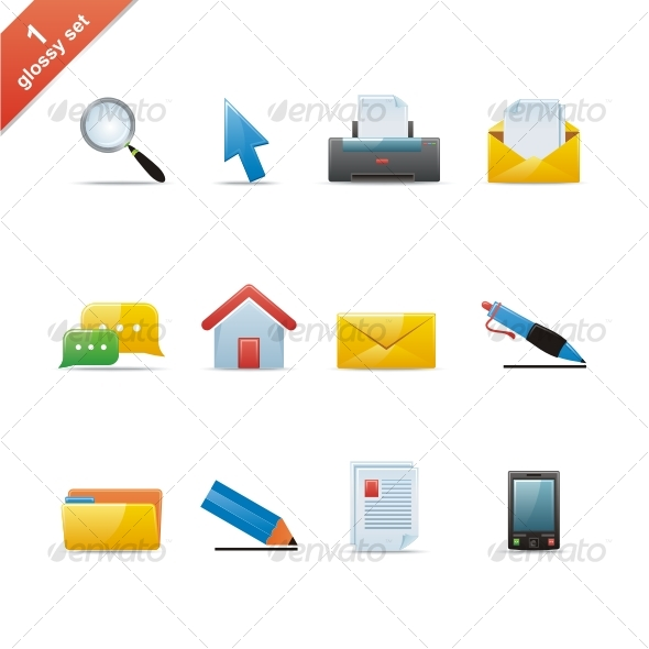 Graphic River Glossy icon set Icons -  Web 43458