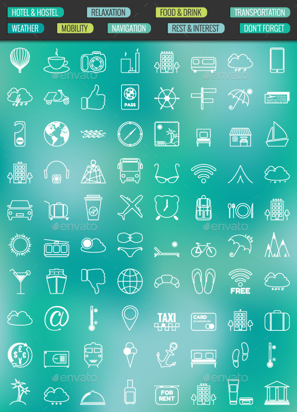GraphicRiver 80 Contour Icons Set 10429732