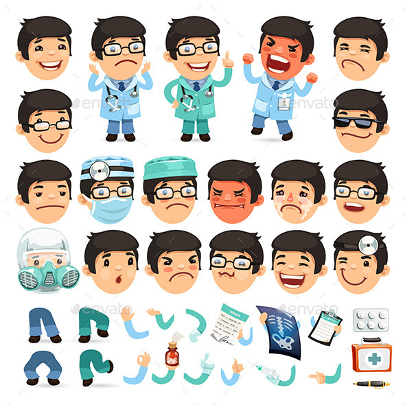 GraphicRiver Set of Cartoon Doctor Characters 10408570