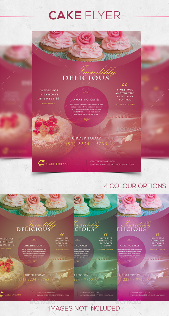 GraphicRiver Cake Flyer in 4 Colors 10429805