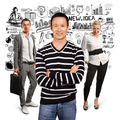 Teamwork and Asian Man In Striped Pullover - PhotoDune Item for Sale