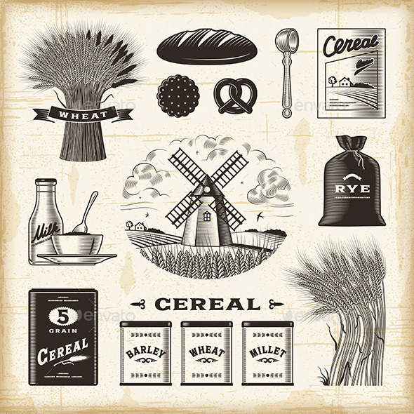 GraphicRiver Vintage Cereal Set 10408181