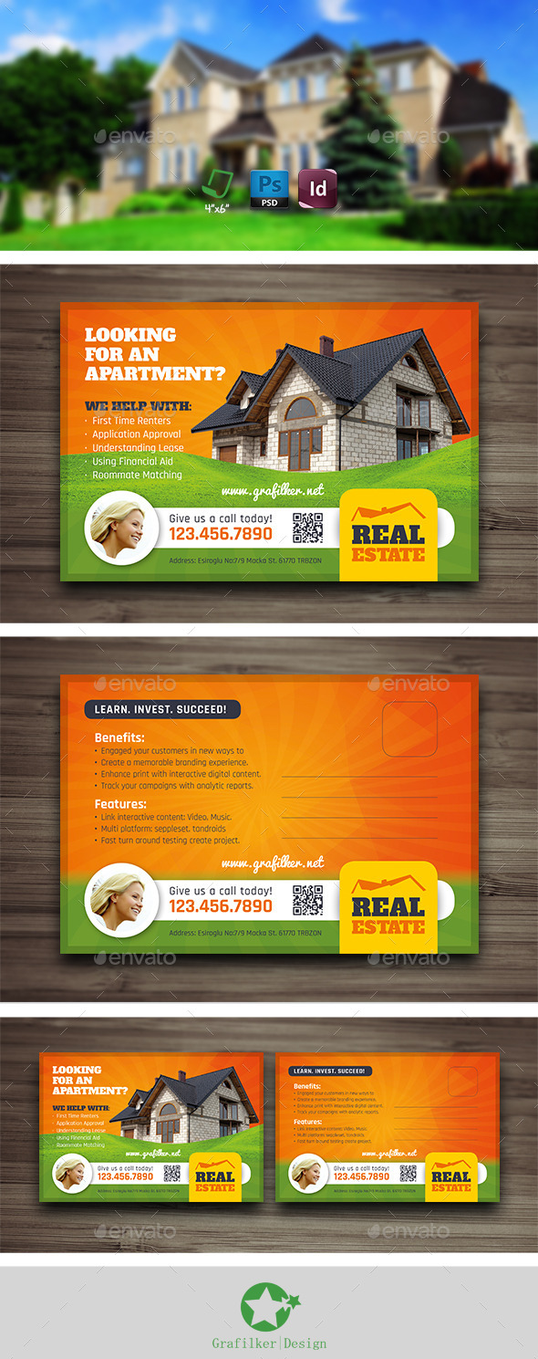 GraphicRiver Real Estate Postcard Templates 10430122